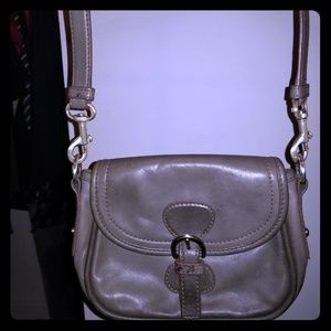 Talbots Grey Leather Mini Crossbody Purse